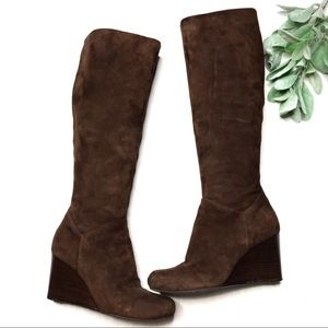 COLE HAAN | sz 6.5 suede wedge boots Nike air.